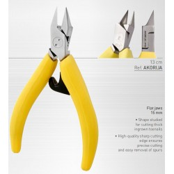Akori ergonomic nail clip 13 cm yellow - mors dishes 15 mm - straight cut - stainless steel