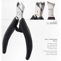 Akori ergonomic nail clip 13 cm black - mors obliques - stainless steel